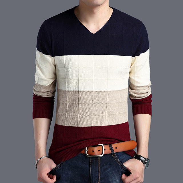 2019 Autumn New Fashion Brand Sweater Man Pullovers Striped Slim Fit Jumpers Knitwear Woolen Korean Style Casual Men Clothes 47