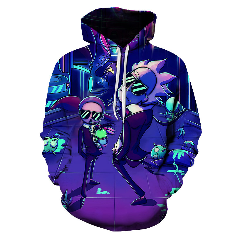 New Custom 3D Sweatshirts Hip Hop Women/Men Hat Funny Print Rick Morty Crazy Scientist Winter Loose Thin Hooded Hoody Tops 2020