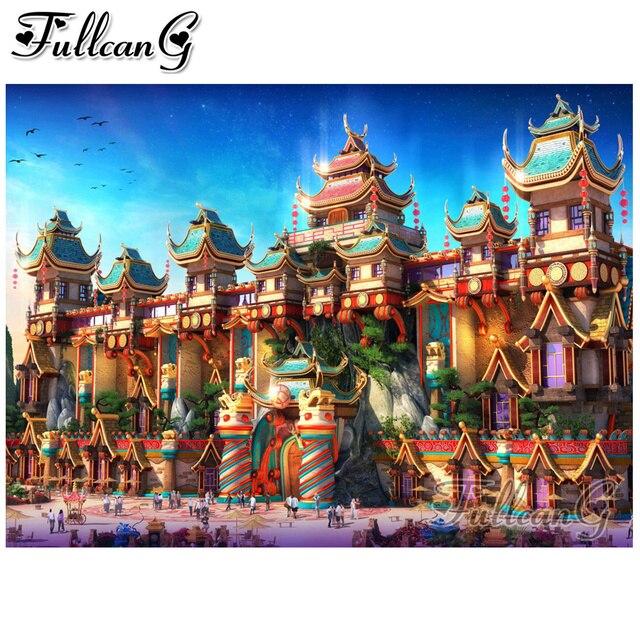 FULLCANG Diy 5D elmas mozaik fairyland çin elmas boyama tam elmas nakış çapraz dikiş kiti manzara dekor FC1838