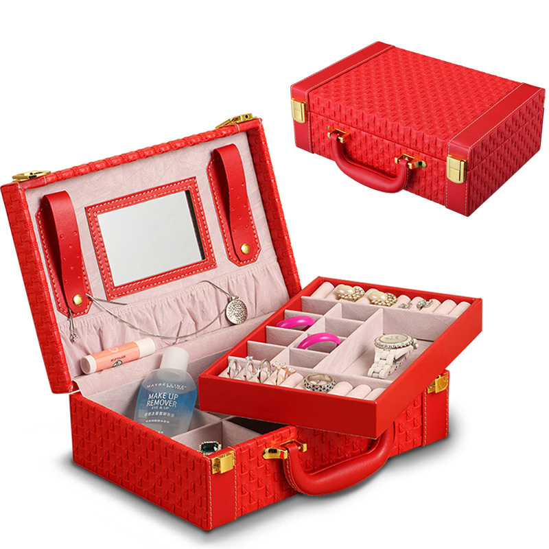 Fashion knitted jewelry box multifunctional portable Jewellery Organizer PU Leatherwear Travel pearls and jewels case
