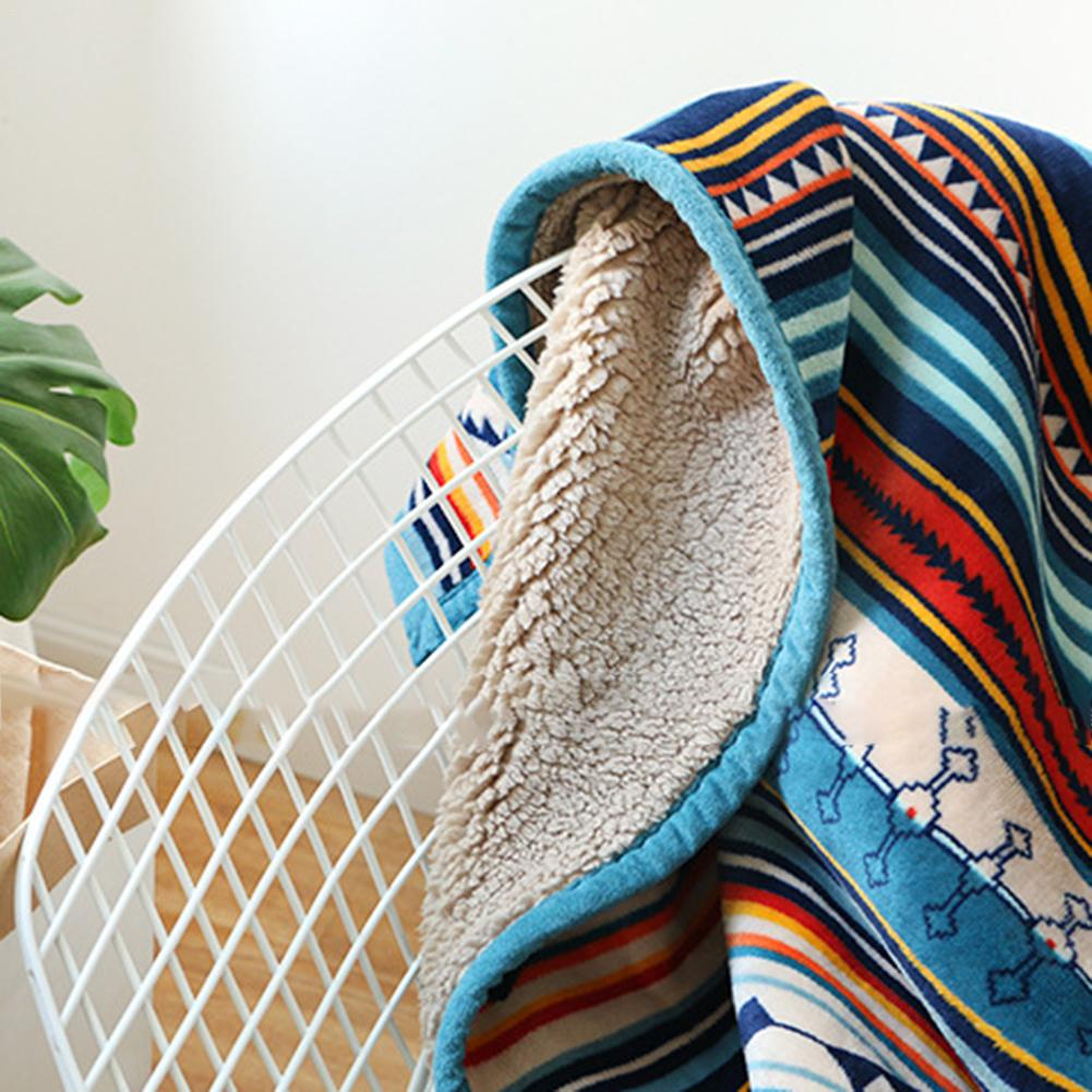 Super doux rétro flanelle polaire Sherpa bohème canapé jeter couverture pour canapé Portable voiture couverture de voyage couverture