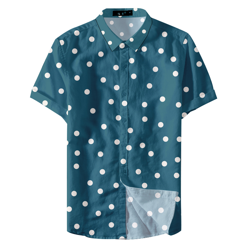2019 News Fashion Fitted Custom Printing Colorful Polka Dots Men Casual Shirt