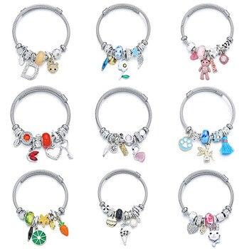 Colgante de cisne de cristal, brazaletes de acero inoxidable, pulseras de amuletos de flor de fruta de corazón, pulseras para mujeres y niñas, joyería ajustable