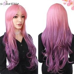 SNOILITE ondulé cheveux synthétiques perruques avec frange 66CM couleur mixte Cosplay fête perruque rose violet Ombre gris brun perruques pour les femmes