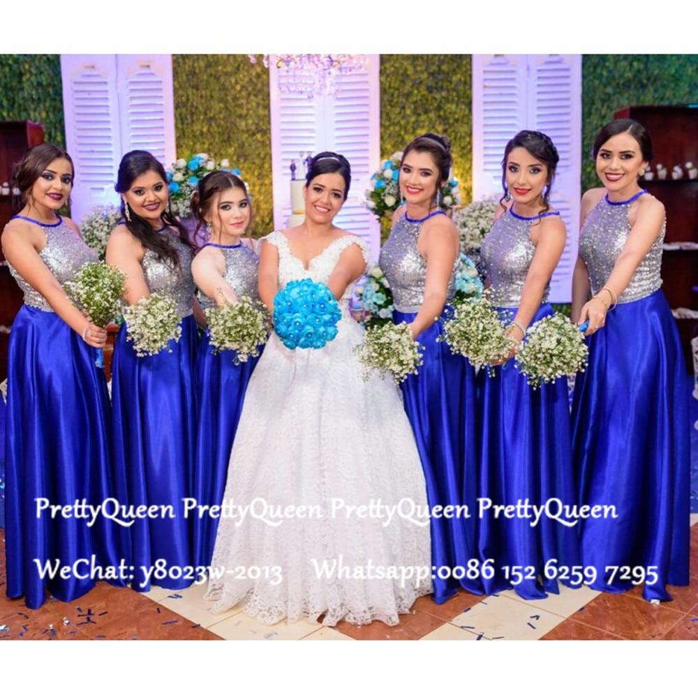 Luxury Long Bridesmaid Dresses 2020 Silver Sequined Top Royal Blue Skirt Wedding Guest Dress Robe Demoiselle D'honneur
