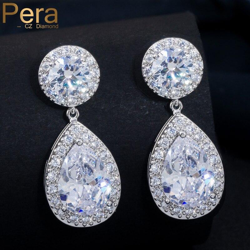 Pera de calitate superioară lacrimă lungă de culoare argintie cubic zirconiu piatră mare rotund cercei bijuterii pentru femei E025