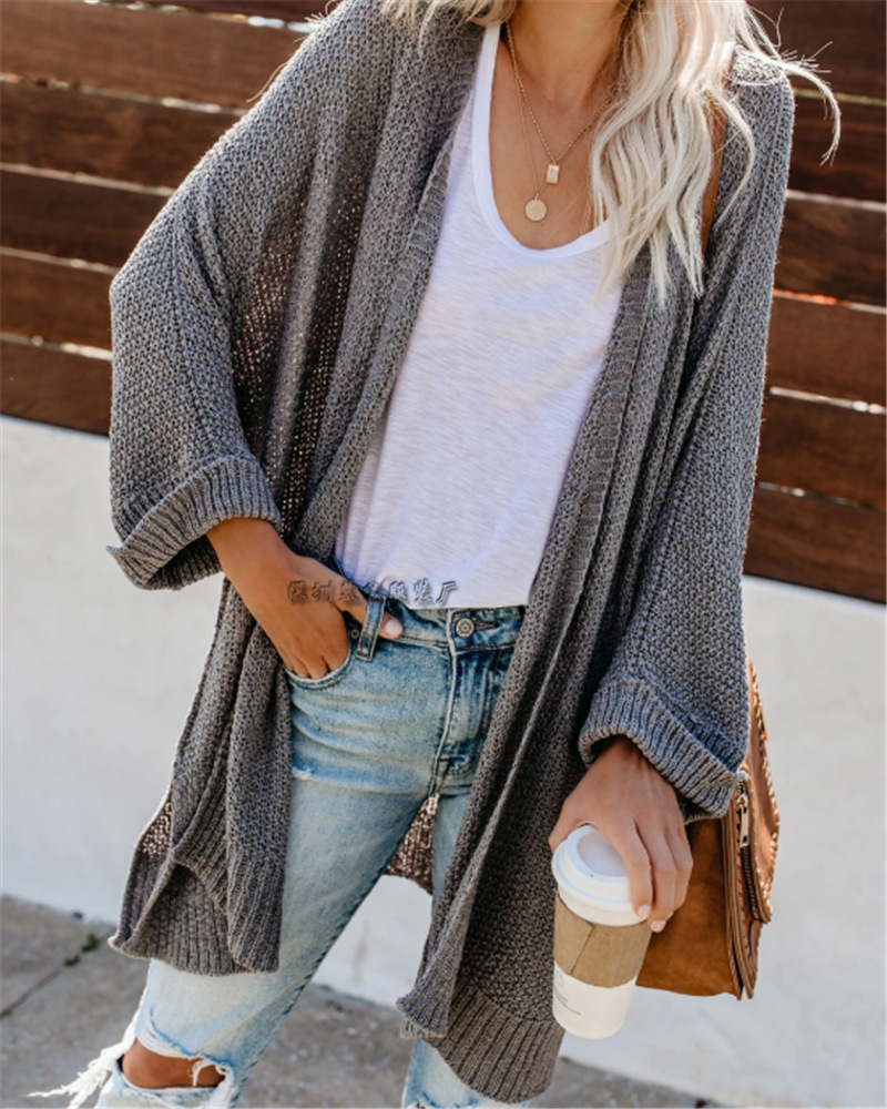Winter Hot Selling Amazon Hot Selling Plus-sized WOMEN'S Jacket Mid-length Solid Color Knit Cardigan Sweater Wom