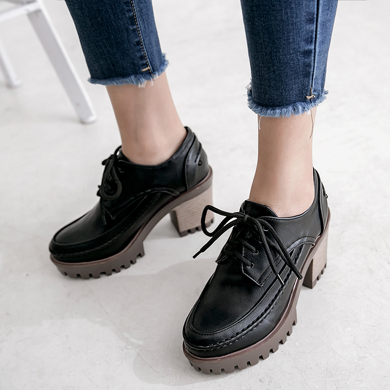 Women Block Chunky Heel Round Toe Lace Up Oxfords Fashion Roman Loafers Shoes