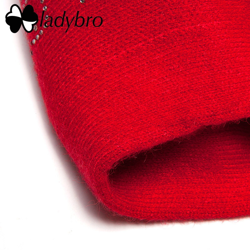Image 5 - Ladybro Double Layer Rhinestones Wool Hat Women Autumn Winter Hat Warm Beret Female Knitted Hat Cap Boina Women's Beret Hat-in Women's Berets from Apparel Accessories