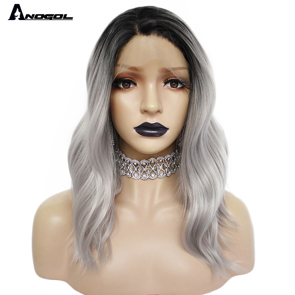 ANOGOL High Temperature Fiber Dark Roots Silver Grey Black Short Natural Wavy Synthetic Lace Front Baby Hair Wigs For Women