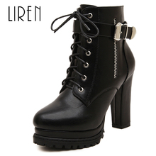 купить Liren 2019 Winter Women Fashion Microfiber Boots Sexy Women Ankle Zip Boots Round Toe High Square Heels Platform Lady Boots по цене 2006.04 рублей