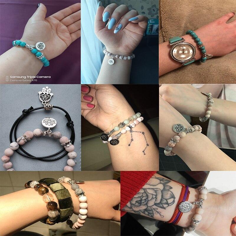 Handmade Natural Stone Lotus Ohm Buddha Beads Bracelet Pink Zebra Stone Lotus Charm Bracelet for Women Men Yoga  Jewelry Gifts 5