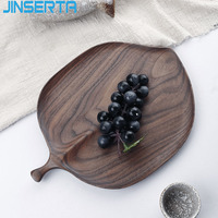 JINSERTA Black Walnut Serving Tray Dessert Fruit Cake Plate Leaf Dinner Plate Dish Tableware Home Hotel Tea Coffee Decor Tray