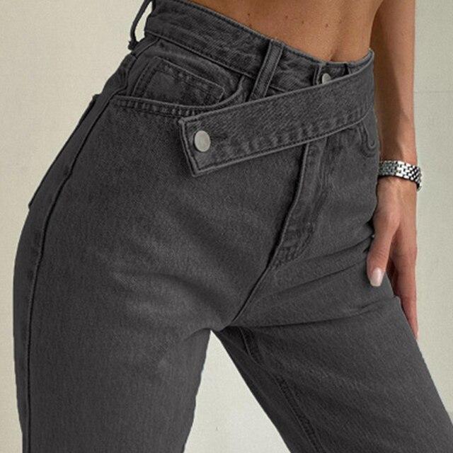 Cryptographic Casual Fashion Straight Denim High Waist Jeans Women Pants Fall Winter 2020 Harajuku Boyfriend Jeans Loose Bottom 2