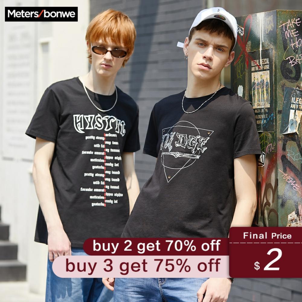 Metersbonwe 2019 New Solid Color T-Shirt Men's 100% Cotton T-shirts Letter Print Summer Youth T-shirt Tops футболка мужская