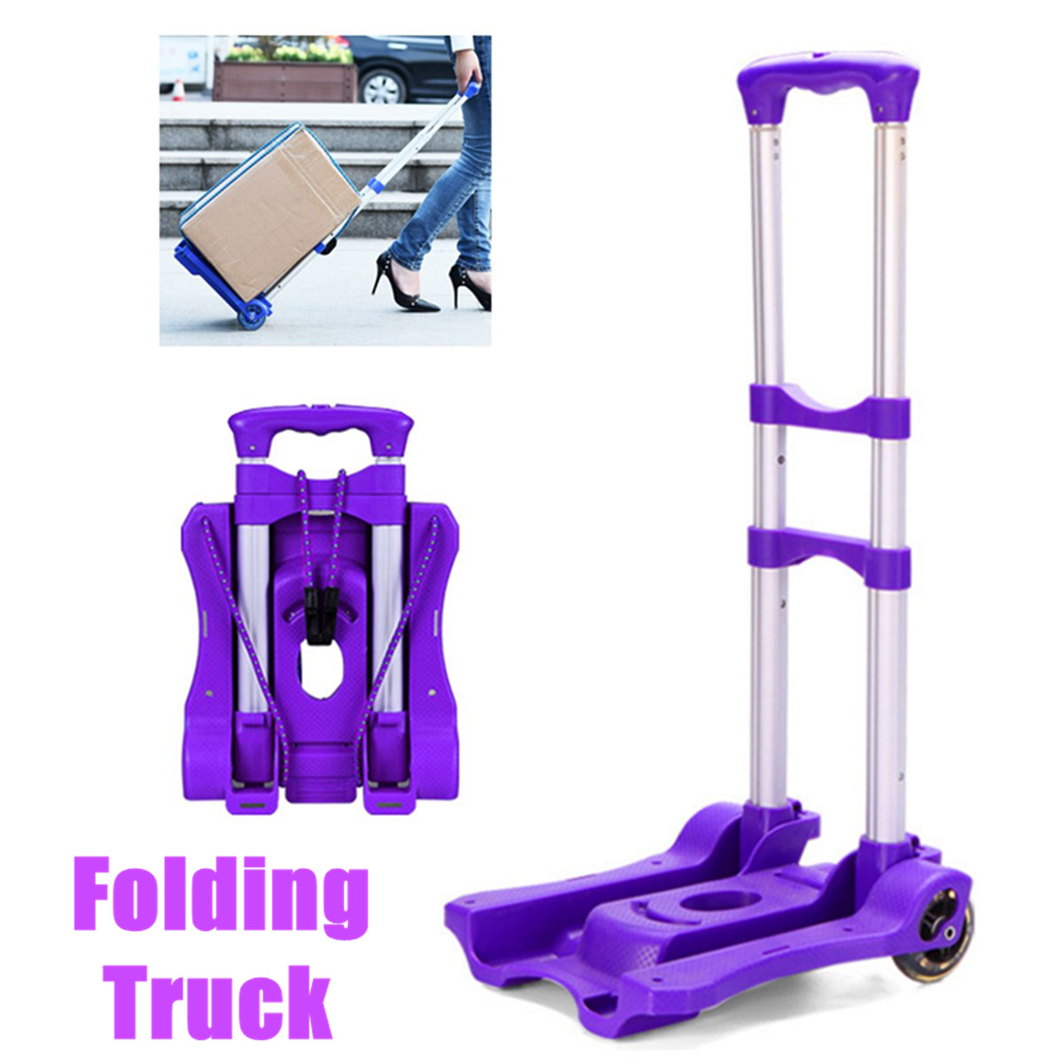 40KG Portable Travel Trailer Aluminum Alloy Car Folding Luggage Cart Household Car Luggage Cart Shopping Trolley Trunk Trailer