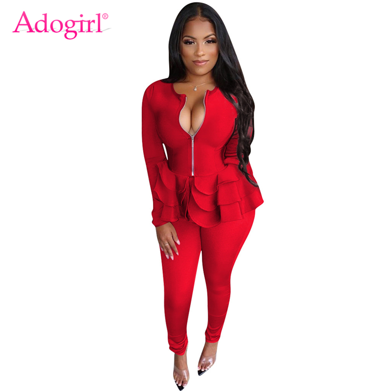 Adogirl Women Solid Fashion Casual Two Piece Set Zipper Long Sleeve Ruffle Hem Blazer Jacket Coat Top Pencil Pants Business Suit