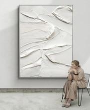Pintados à mão textura grossa abstrata pintura a óleo branco puro mural quadros em tela restaurante sala de estar entrada arte da parede