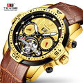 Vintage Männer Automatische Mechanische Tourbillon Gold Zifferblatt Uhr Luxus Mode Sport Militär Uhren Leder Herren Uhr Relogio