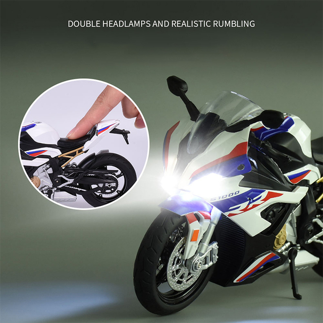 1:12 Diecast Motorcycle Model Toy BM S1000RR Replica With Sound & Light Boy gift birthday gift christmas gift Collection bike 2