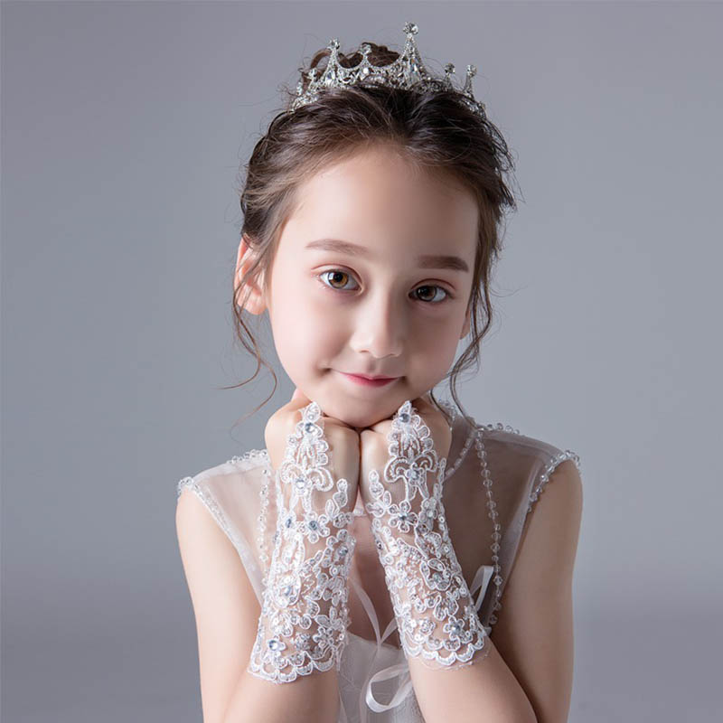 Beauty Girl Lace Beaded Wedding Gloves Red Ivory Fingerless For Flower Girls Dress Gloves For Birthday Party Stage Performance
