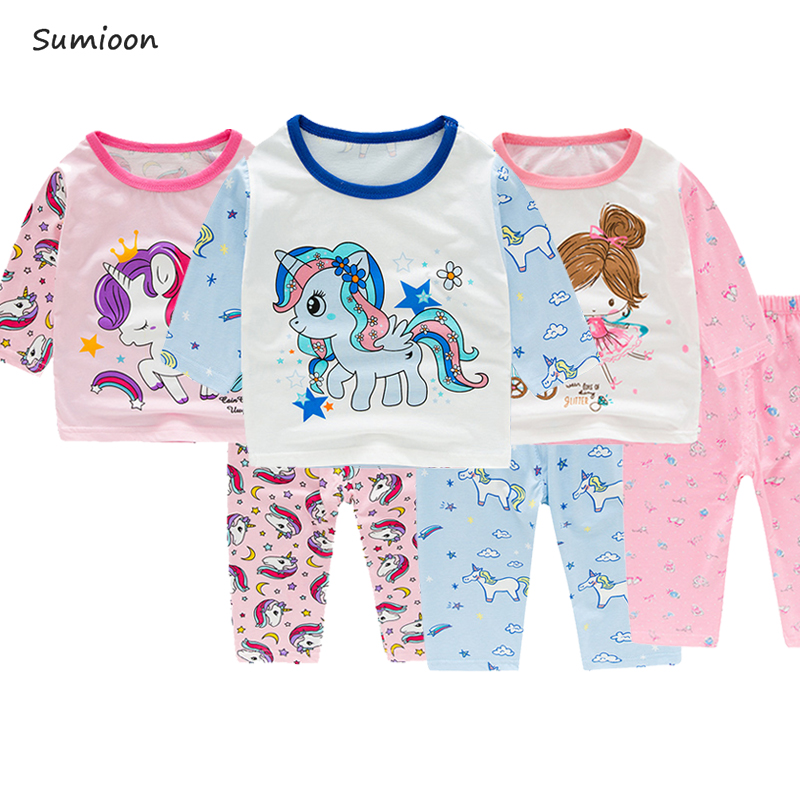 Girls Unicorn   Pajamas   Cotton Long Sleeve Baby Pijamas Boys Nightwear Children Clothing   Sets   Pyjamas Kids Sleepwear 2-9Y Clothes