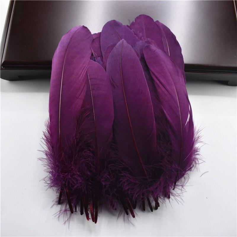 Жесткий полюс, натуральные гусиные перья для рукоделия, 5-7 дюймов/13-18 см, самодельные ювелирные изделия, перо, свадебное украшение для дома - Цвет: Fuchsia