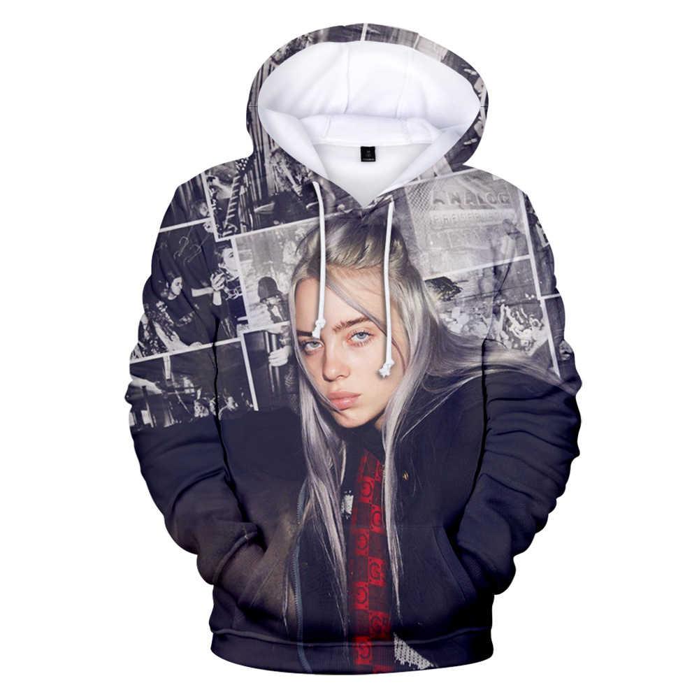 3D Print Billie Eilish bluzy Cosplay bluza w stylu kpop tkaniny męski długi płaszcz casualowe w stylu streetwear Unisex bluza z kapturem Hip Hop moda