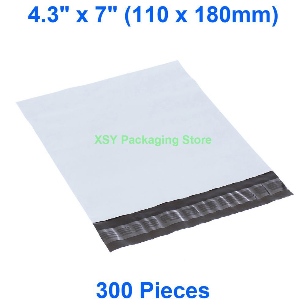 """300 шт белый пакет почтовый из ПВХ 4,3 """"x 7"""" (110x180 мм) Маленькие Пластиковые Конверты Почтовые отправка упаковочные почтовые пакеты"""