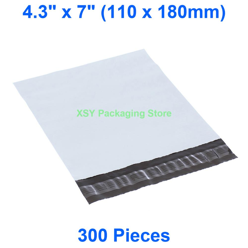 300 Pieces White Poly Mailing Bags 4.3