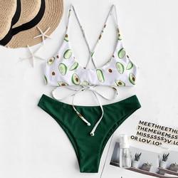 Bikini Sexy Women Avocado Printing Bikini Set Print Padded Swimwear Bathing Swimsuit Beachwear Bathing Suit strój kąpielowy 1