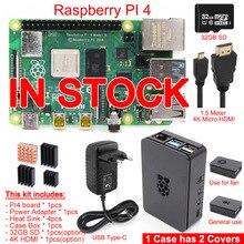 2019 Released Original Raspberry Pi 4 Model B PI 4B 1GB/2GB/4GB Kit: Board+Heat Sink+Power Adapter+Case Box+32GB SD+HDMI Cable