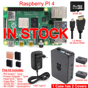 2019 Released Original Raspberry Pi 4 Model B PI 4B 1GB/2GB/4GB Kit: Board+Heat Sink+Power Adapter+Case Box+32GB SD+HDMI Cable(China)