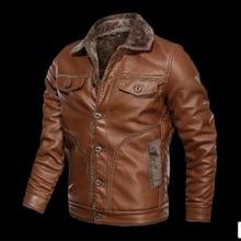 Мужская брендовая Роскошная мотоциклетная кожаная куртка, мужские тонкие Куртки из искусственной кожи, Зимние Повседневные флисовые теплые кожаные пальто с отворотом