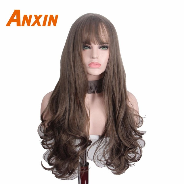 Anxin Long Curly Synthetic Wigs with Bangs Brown Womans Hair Heat Resistant High Temperature Kinky Cosplay Wig for Women