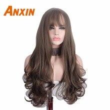 Anxin pelucas sintéticas de pelo rizado largo con flequillo para mujer, cabello marrón resistente al calor, peluca de Cosplay rizada de alta temperatura para mujer