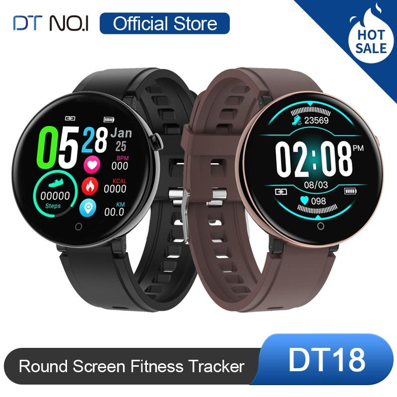 DT NO.1 DT18 Smart Watch Round Touch Screen Smartwatch Heart Rate Intelligent Fitness Tracker IP67 Sports Fashion Bracelet Men