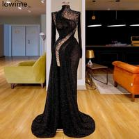 Muslim Black Sequin Formal Evening Dress Long Mermaid Sexy Turkish Crystal Prom Dress Dubai Couture Women Party Gowns Vestidos