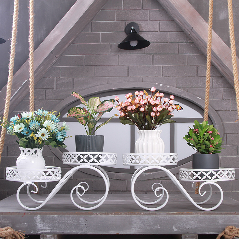 Nordic Metal Flower Pot Sundries Storage Rack Iron Plant Stand Outdoor Indoor Garden Stand Flower Stand Balcony Decorations