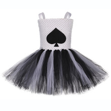 Child Queen of Hearts Fancy Dress Costume for Girls Black Heart Pattern Knee Length Tutu Vestido Halloween Cosplay Clothes