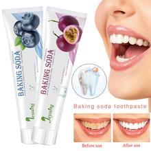 1 Pcs Press Type Baking Soda Toothpaste Strengthen Decontamination Whitening Fruit Flavor Removal