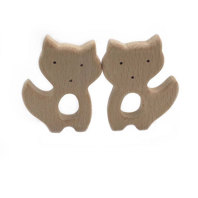 1Pcs DIY Cartoon Mini Fox Natural Beech Woode Teether Pacifier Chain 3C Safety Certification Woode Baby Teether Toys For Newborn