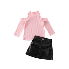 2020 Fashion Infant Baby Girls Kids Clothes Sets Long Sleeve Knit Off Shoulder Pullover Sweater Tops PU Skirt Outfit 1-5Y kids girls knit skirt sets spring 2018 teenage girls long sleeve sweater top