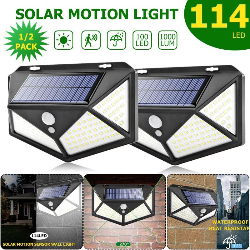 4pcs 100 LED 114 LED Solar Light Outdoor Waterproof 4-side Solar Sunlight Powered Lamp PIR Sensor Wall Light For Garden Decor