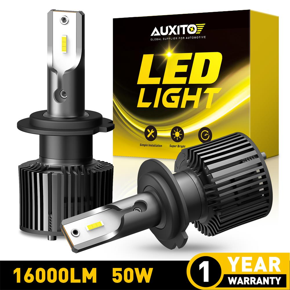 2Pcs AUXITO LED Car Headlight Bulbs H4 9003 Hi Lo Beam Headlamp H1 H11 H8 HB4 HB3 9005 H7 Turbo LED Lamp 6000K White 16000LM 50W
