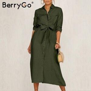 Image 1 - BerryGo Streetwear ארוך שרוול נשים שמלת דש קשת loose כותנה שמלה אלגנטית משרד ליידי עבודה ללבוש סתיו חורף רטרו שמלה