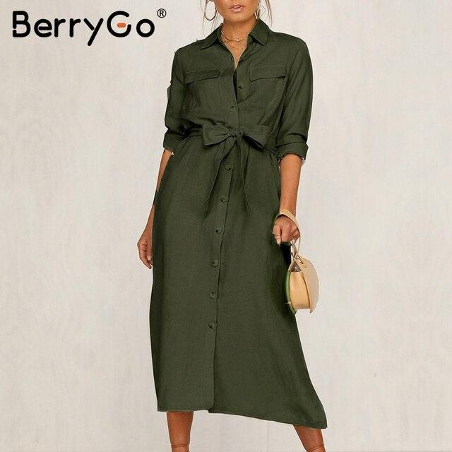 BerryGo Streetwear ארוך שרוול נשים שמלת דש קשת loose כותנה שמלה אלגנטית משרד ליידי עבודה ללבוש סתיו חורף רטרו שמלה