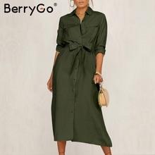 BerryGo Streetwear à manches longues femmes robe revers noeud robe en coton lâche élégant bureau dame travail usure automne hiver robe rétro