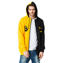 Autumn and Winter New Double Color Mens Hoodies Letter Printed Jacket Zipper Leisure Wear Street Trend Sweatshirt