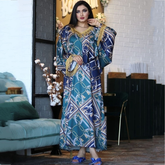2021 African Traditional Wear Dashiki Maxi Dresses For Women Plus Size Clothes Gold Tassel Lady Dress Wedding Party Robe